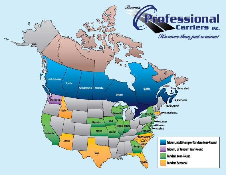 Service area for Professional Carriers